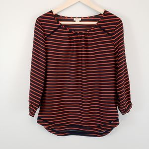 J. Crew Factory Striped Blouse W/ Lattice Detail